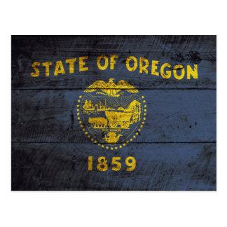 Oregon State Flag on Old Wood Grain Postcard