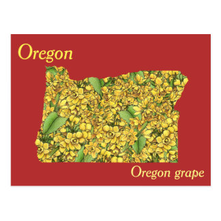 Oregon State Flower Collage Map Postcard