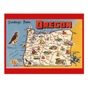 Oregon State Map Postcard