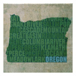 Oregon State Outline Word Map on Canvas Posters