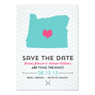 Oregon State Save the Date  - Blue and Pink 5x7 Paper Invitation Card