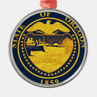 Oregon State Seal Round Metal Christmas Ornament