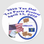 Oregon Tax Day Tea Party Protest Round Stickers