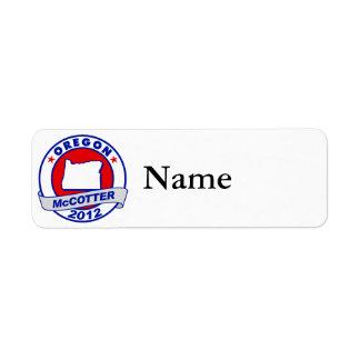 Oregon Thad McCotter Return Address Label
