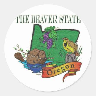 Oregon The Beaver State Lark Grape Classic Round Sticker