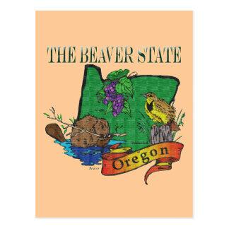 Oregon The Beaver State Lark Grape Postcard