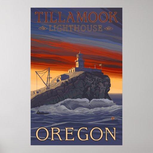 Oregon - Tillamook Lighthouse Vintage Travel Poste Poster