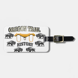 Oregon trail history art bag tag