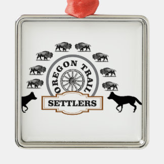oregon trail settlers tough metal ornament