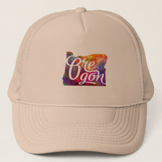 Oregon U.S. State in watercolor text cut out Trucker Hat