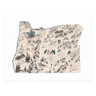 Oregon Vintage Picture Map Postcard