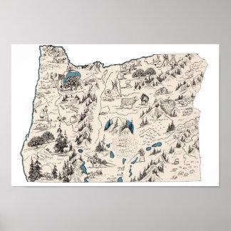 Oregon Vintage Picture Map Poster