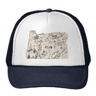 Oregon Vintage Picture Map Trucker Hat