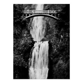 Oregon Waterfall (Black and White) Poster