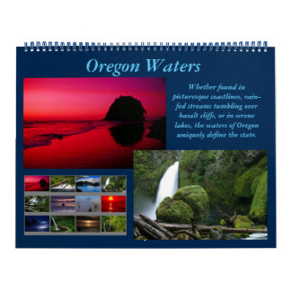 Oregon Waters Calendar (waterfalls, coasts, lakes)