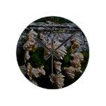 Oregon Wild Forest Mushrooms Round Clock