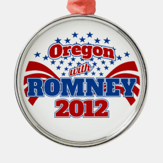 Oregon with Romney 2012 Round Metal Christmas Ornament