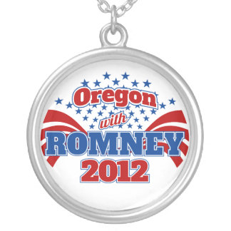 Oregon with Romney 2012 Round Pendant Necklace