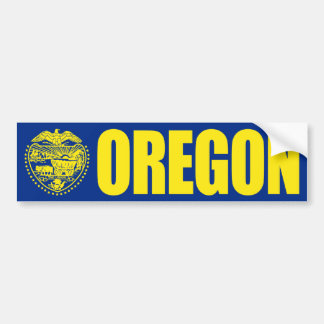 Oregon with State Flag Bumper Sticker