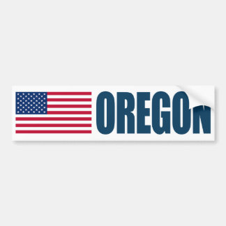 Oregon with US Flag Bumper Sticker
