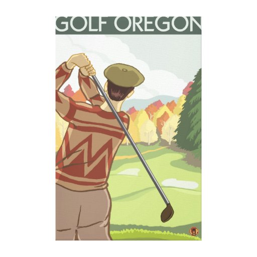 OregonGolf Scene Vintage Travel Poster Gallery Wrapped Canvas