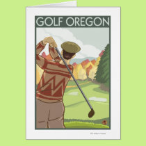 OregonGolf Scene Vintage Travel Poster Card