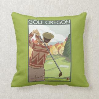 OregonGolf Scene Vintage Travel Poster Throw Pillow