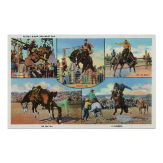 OregonScenic Views of Rodeo Bronco Busters Poster