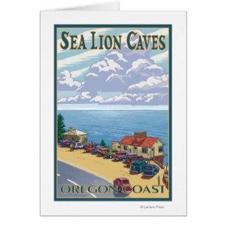OregonSea Lion Caves Vintage Travel Poster Card