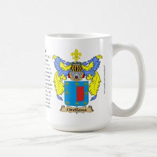 Orellana nombra, el origen, el significado y el Cr Taza De Café