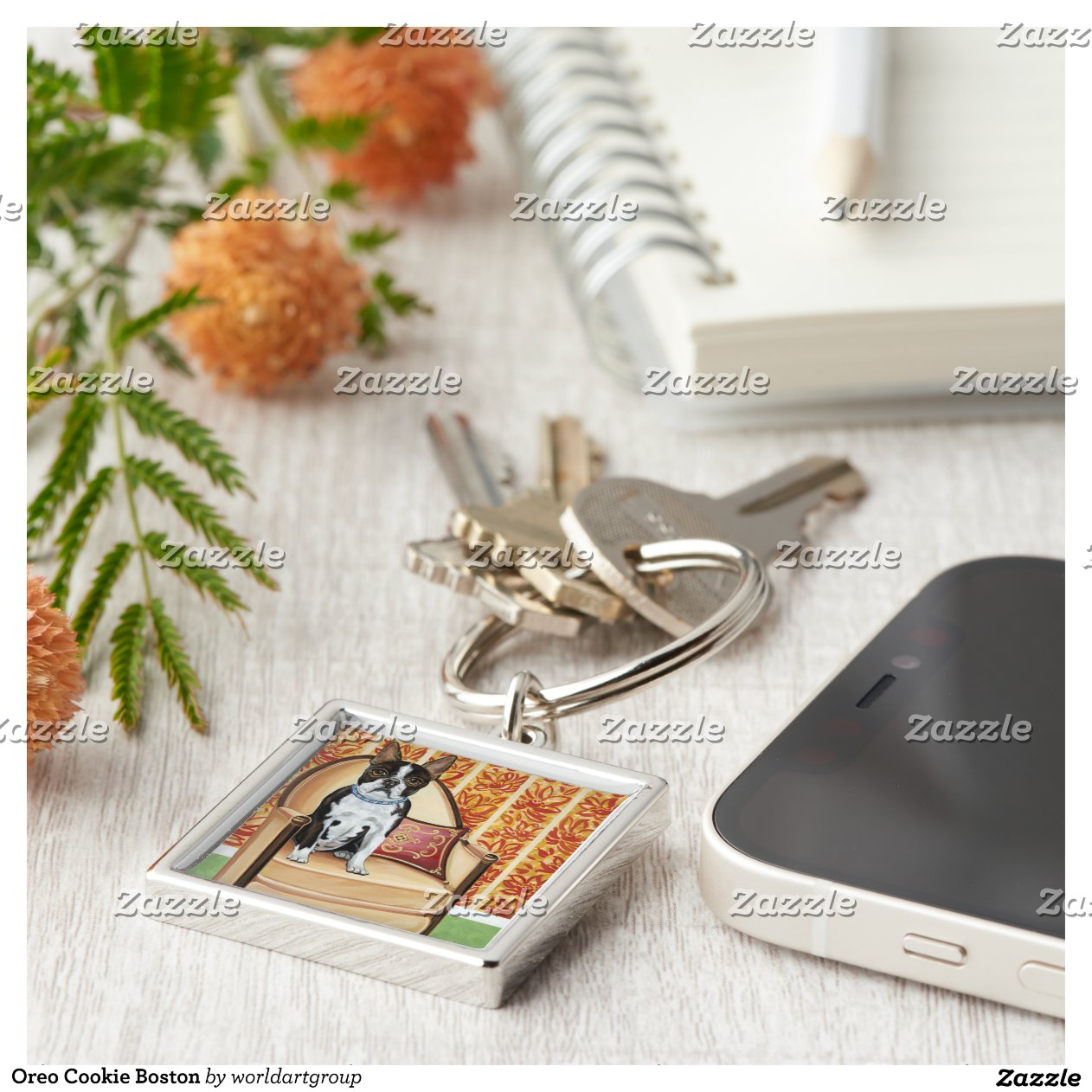 Colored Oreo Cookies Oreo Cookie Boston Silver Colored Square Keychain Rcafdfbbddef