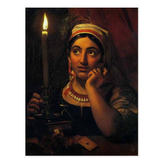 Orest Kiprensky- Fortune-teller with a candle Postcard