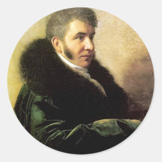 Orest Kiprensky- Portrait of Ivan Gagarin Round Sticker