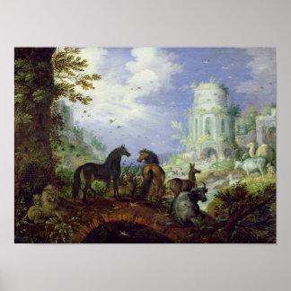 Orfeo que encanta los animales, 1626 póster