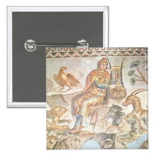Orfeo que juega a los animales, mosaico romano pin cuadrada 5 cm