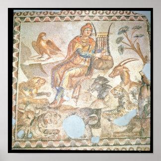 Orfeo que juega a los animales, mosaico romano póster