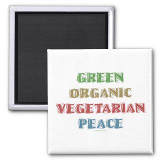 Org verde Veg Peac Imán Para Frigorifico
