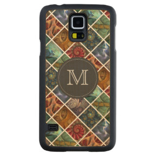 """""""Orgaenica"""" Fractal Polyptych Monogrammed Carved Maple Galaxy S5 Slim Case"""