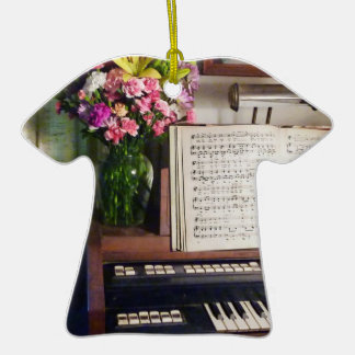 Organ And Bouquet Of Flowers Double-Sided T-Shirt Ceramic Christmas Ornament