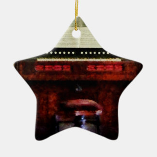 Organ And Swivel Stool Double-Sided Star Ceramic Christmas Ornament