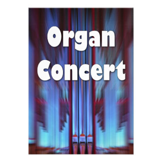 Organ concert invitation blue pipes