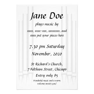 Organ concert invitation teal pipes