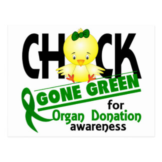Organ Donation Chick Gone Green 2 Post Cards