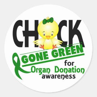 Organ Donation Chick Gone Green 2 Classic Round Sticker