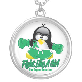 Organ Donation Fighting Penguin Round Pendant Necklace
