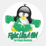 Organ Donation Fighting Penguin Stickers