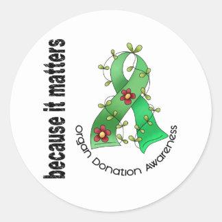 Organ Donation Flower Ribbon Classic Round Sticker