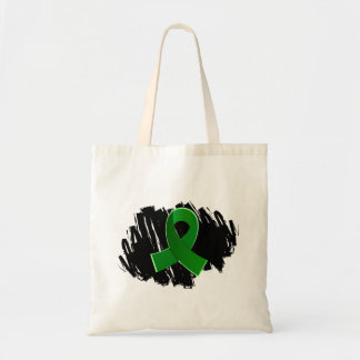Organ Donation Green Ribbon With Scribble Canvas Bags