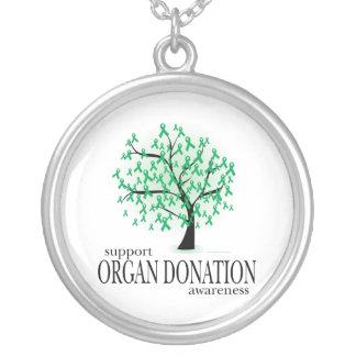 Organ Donation Tree Round Pendant Necklace