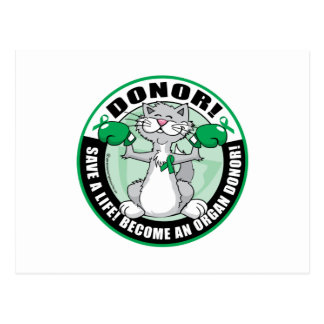 Organ Donor Cat Donor Postcard